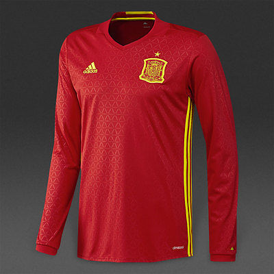 d7f6e0446 ADIDAS EURO 2016 SPAIN LONG SLEEVE HOME JERSEY Scarlet Bright Yellow