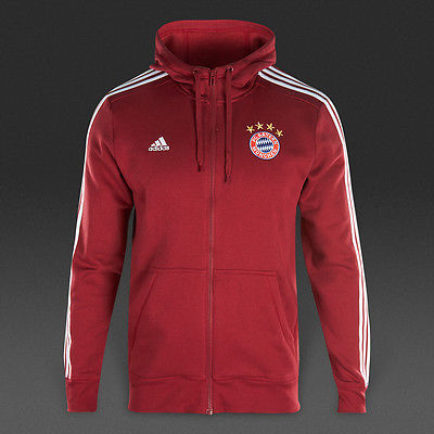 ADIDAS BAYERN MUNICH 3 STRIPES FULL ZIP HOODIE Red.