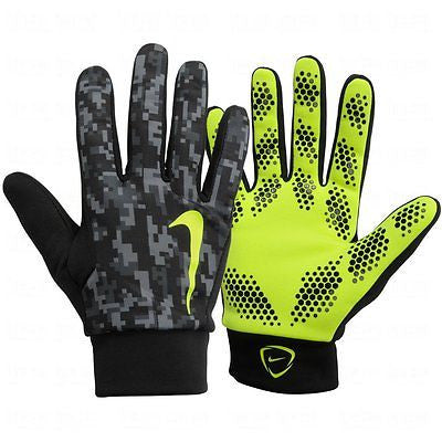 NIKE HYPERSHIELD FIELD PLAYER GLOVES TRAINING SOCCER Black/Volt.