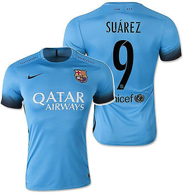NIKE LUIS SUAREZ FC BARCELONA AUTHENTIC THIRD NIGHT RISING MATCH JERSEY 2015/16