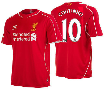 WARRIOR PHILIPPE COUTINHO LIVERPOOL FC HOME JERSEY 2014/15.