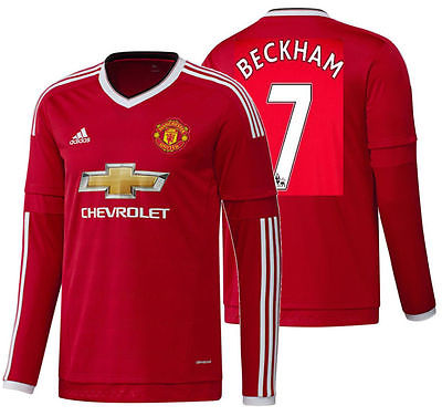 ADIDAS DAVID BECKHAM MANCHESTER UNITED LONG SLEEVE HOME JERSEY 2015/16.