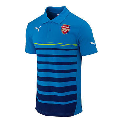 PUMA ARSENAL LEISURE HOOPED POLO SHIRT METHYL BLUE.