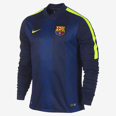 NIKE FC BARCELONA SQUAD THERMAL LONG SLEEVE PRE MATCH TOP  Loyal Blue/Volt