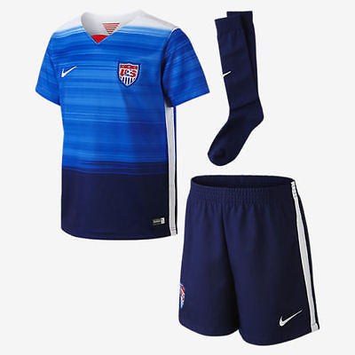 NIKE USA USWNT USMNT SOCCER LITTLE BOYS AWAY KIT 2015/16