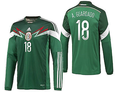 ADIDAS ANDRES GUARDADO MEXICO LONG SLEEVE HOME JERSEY FIFA WORLD CUP BRAZIL 2014