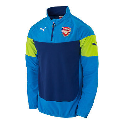 PUMA ARSENAL FLEECE TRAINING TOP Blue/Lime 1