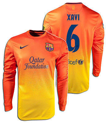 NIKE XAVI HERNANDEZ FC BARCELONA LONG SLEEVE AWAY JERSEY 2012/13