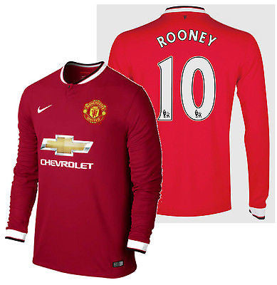 NIKE WAYNE ROONEY MANCHESTER UNITED LONG SLEEVE HOME JERSEY 2014/15