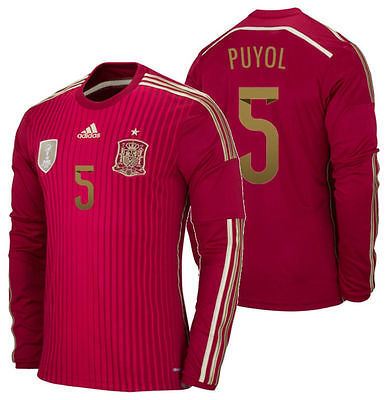 Adidas Puyol Spain Long Sleeve Home Jersey 2014 M60434