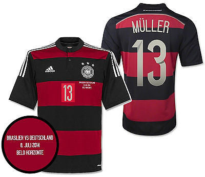 ADIDAS T. MULLER GERMANY AWAY JERSEY SEMIFINAL DETAIL FIFA WORLD CUP BRAZIL 2014