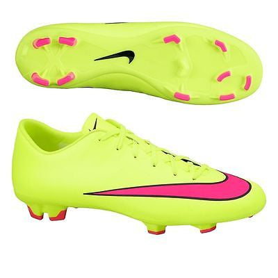 a28485ab63c NIKE MERCURIAL VICTORY V FG FIRM GROUND SOCCER CR7 SHOES Volt Black Hyper  Pink