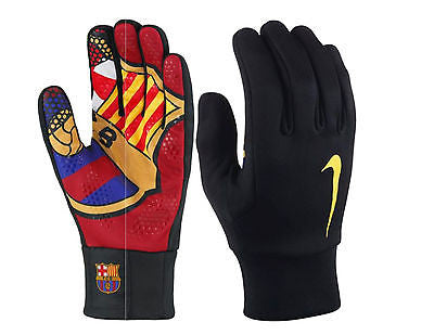 NIKE FC BARCELONA HYPERWARM SOCCER GLOVES Black/Red/Gold.