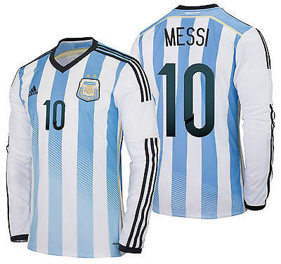 ADIDAS ARGENTINA LIONEL MESSI LONG SLEEVE HOME JERSEY FIFA WORLD CUP BRAZIL 2014