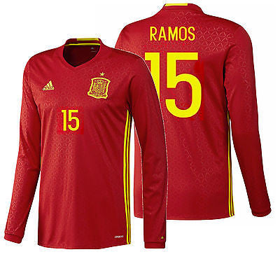 ADIDAS EURO 2016 SERGIO RAMOS SPAIN LONG SLEEVE HOME JERSEY Scarlet/Bright Yellw