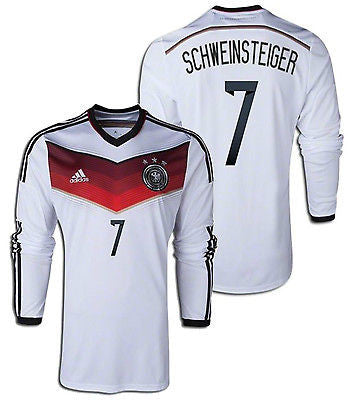 ADIDAS BASTIAN SCHWEINSTEIGER GERMANY LONG SLEEVE HOME JERSEY FIFA WORLD CUP BRAZIL 2014