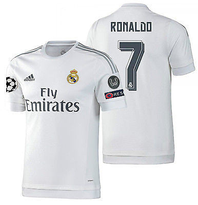 ADIDAS CRISTIANO RONALDO REAL MADRID AUTHENTIC HOME UEFA CHAMPIONS LEAGUE MATCH JERSEY 2015/16