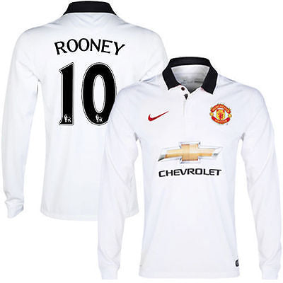 NIKE WAYNE ROONEY MANCHESTER UNITED LONG SLEEVE AWAY JERSEY 2014 15. –  REALFOOTBALLUSA.NET e11c03158