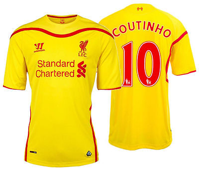 WARRIOR PHILIPPE COUTINHO LIVERPOOL FC AWAY JERSEY 2014/15 .