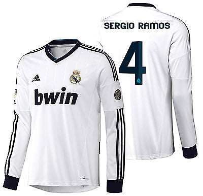 ADIDAS SERGIO RAMOS REAL MADRID LONG SLEEVE HOME JERSEY 2012/13.