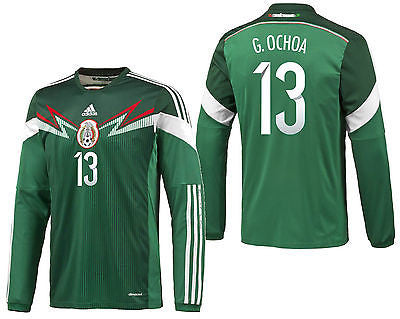 ADIDAS GUILLERMO OCHOA MEXICO LONG SLEEVE HOME JERSEY FIFA WORLD CUP BRAZIL 2014.