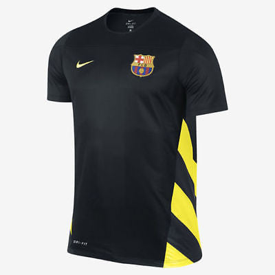 NIKE FC BARCELONA SQUAD UEFA CHAMPIONS LEAGUE TRAINING TOP Black/Yellow 1