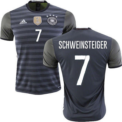 ADIDAS EURO 2016 GERMANY BASTIAN SCHWEINSTEIGER AWAY JERSEY Dark Grey Heather.