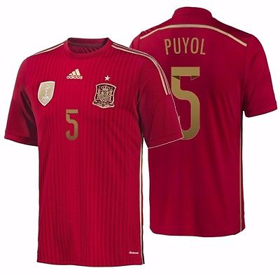 Adidas Puyol Spain Authentic Home Jersey 2014 G85242