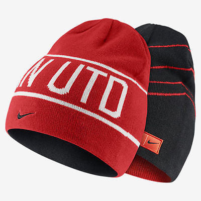 NIKE MANCHESTER UNITED REVERSIBLE KNIT BEANIE ONE SIZE Black/Red.