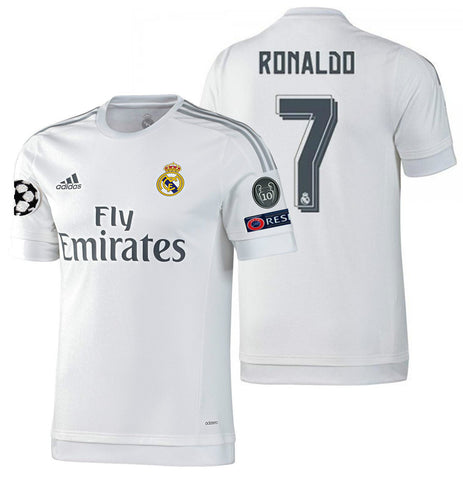 ADIDAS CRISTIANO RONALDO REAL MADRID AUTHENTIC HOME UEFA CL MATCH JERSEY 2015/16