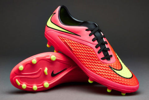 NIKE HYPERVENOM PHELON FG FIRM GROUND SOCCER SHOES Crimson/Volt/Hyper Punch/Blk