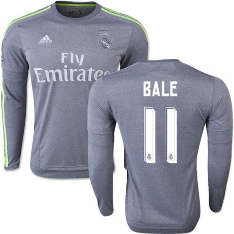 ADIDAS GARETH BALE REAL MADRID LONG SLEEVE AWAY JERSEY 2015/16 LA LIGA.