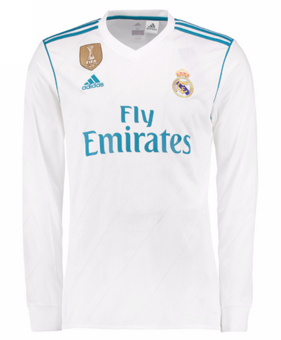 huge discount da263 4718e ADIDAS CRISTIANO RONALDO REAL MADRID LONG SLEEVE HOME JERSEY 2017/18 FIFA  PATCH.