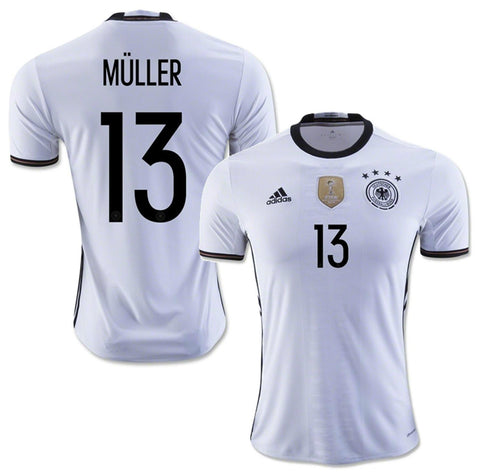 ADIDAS GERMANY EURO 2016 THOMAS MULLER HOME JERSEY White/Black.