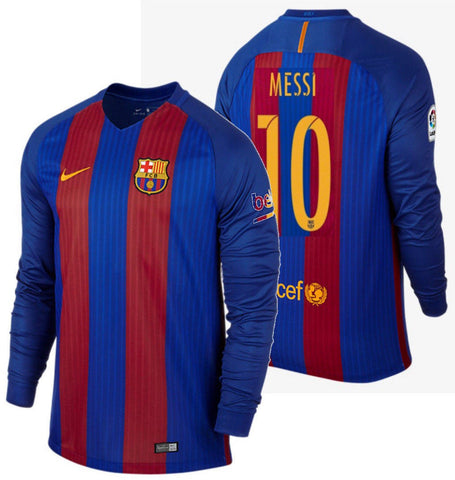 NIKE LIONEL MESSI FC BARCELONA LONG SLEEVE HOME JERSEY 2016/17.