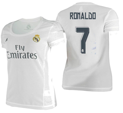 ADIDAS CRISTIANO RONALDO REAL MADRID WOMEN'S HOME JERSEY 2015/16