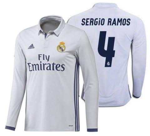 ADIDAS SERGIO RAMOS REAL MADRID LONG SLEEVE HOME JERSEY 2016/17