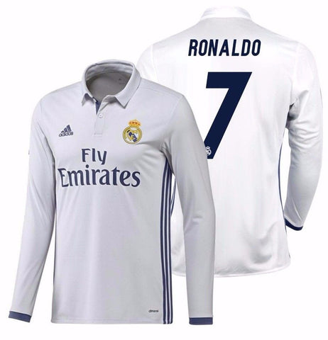 ADIDAS CRISTIANO RONALDO REAL MADRID LONG SLEEVE HOME JERSEY 2016/17.