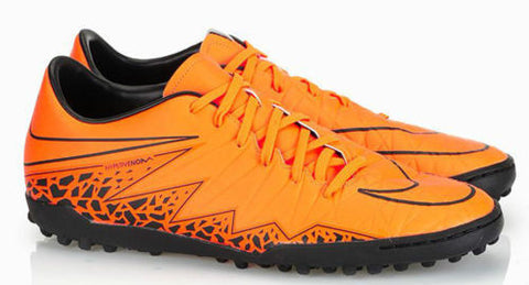 NIKE HYPERVENOM PHELON II TF TURF SOCCER SHOES Total Orange/Black.