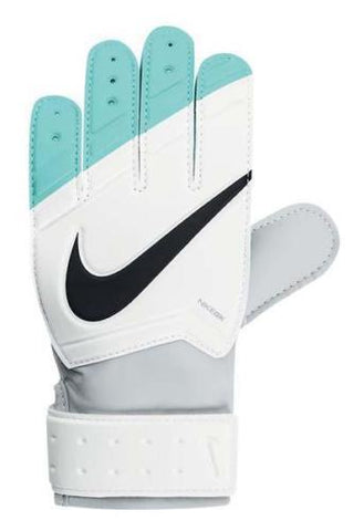 NIKE GK JUNIOR GRIP GOALKEEPER GLOVES JR. GRIP YOUTH SIZES White/Turquoise