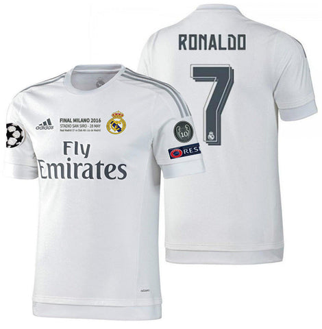 ADIDAS CRISTIANO RONALDO REAL MADRID AUTHENTIC FINAL UCL MATCH JERSEY 2015/16.