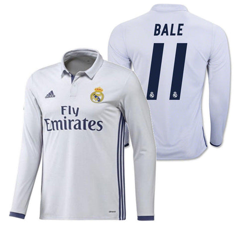 ADIDAS GARETH BALE REAL MADRID LONG SLEEVE HOME JERSEY 2016/17 1
