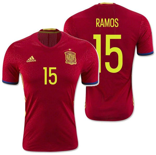 new style 11636 7c659 ADIDAS SPAIN SERGIO RAMOS EURO 2016 AUTHENTIC PLAYER HOME ADIZERO JERSEY  Scarlet