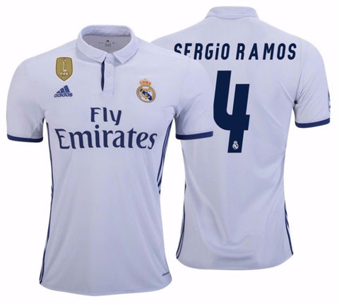 ADIDAS SERGIO RAMOS REAL MADRID FIFA PATCH HOME JERSEY 2016/1.