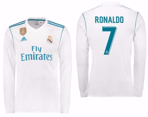 ADIDAS CRISTIANO RONALDO REAL MADRID LONG SLEEVE HOME JERSEY 2017/18 FIFA PATCH 0