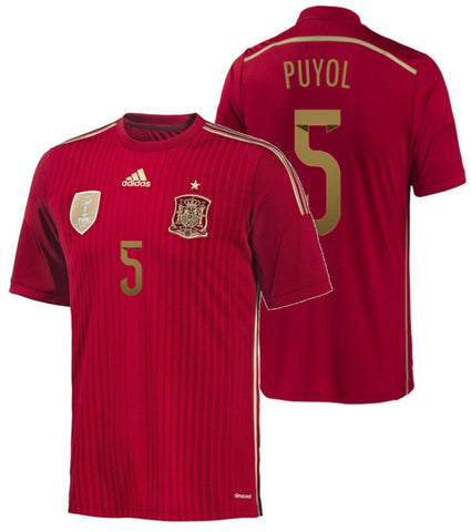 ADIDAS CARLES PUYOL SPAIN HOME JERSEY FIFA WORLD CUP BRAZIL 2014