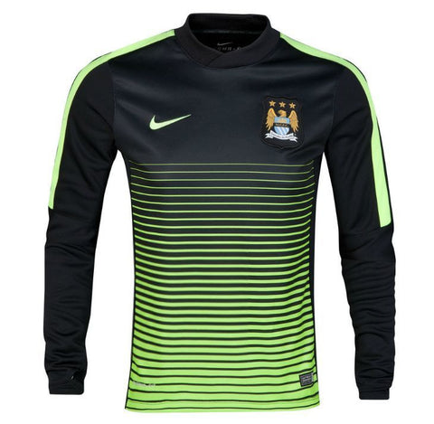 NIKE MANCHESTER CITY LONG SLEEVE THERMAL PRE MATCH TOP Black/Volt.