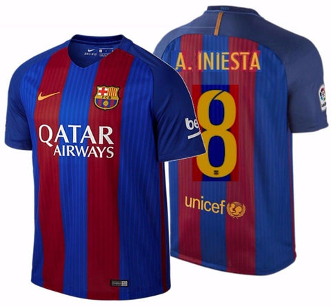 NIKE ANDRES INIESTA FC BARCELONA HOME JERSEY 2016/17 QATAR.