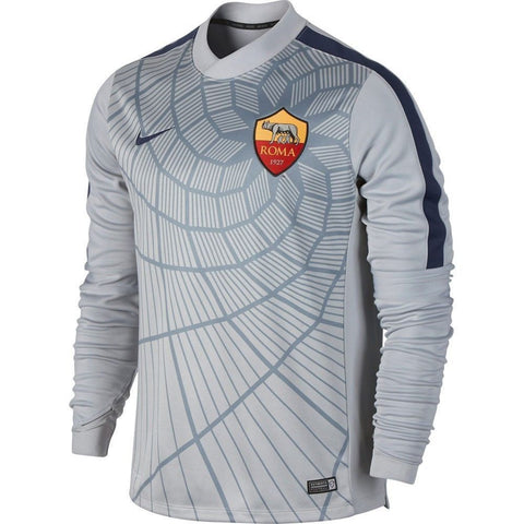 NIKE AS ROMA LONG SLEEVE THERMAL PRE MATCH TOP GrayNavy.