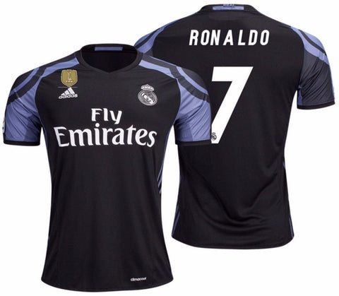 ADIDAS CRISTIANO RONALDO REAL MADRID FIFA PATCH THIRD JERSEY 2016/17.